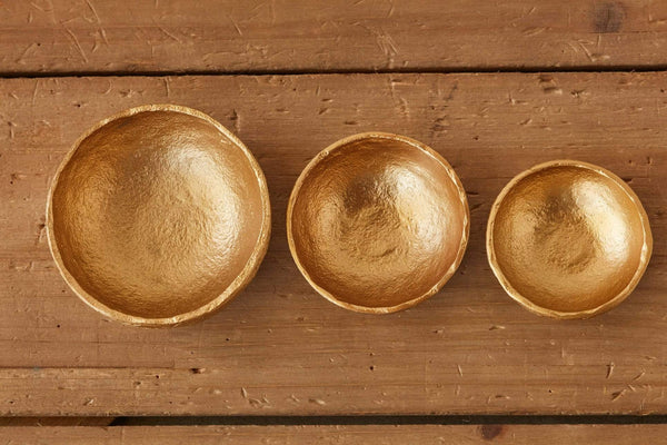 Brass Finish Cast Aluminum Mini Bowl Set