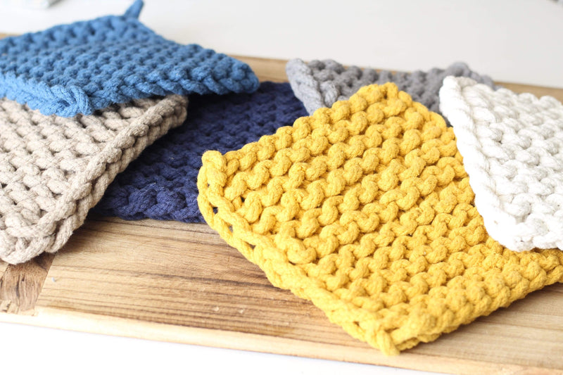 crochet pot holder trivet natural colors farmhouse casual country knitted decor kitchenware tableware