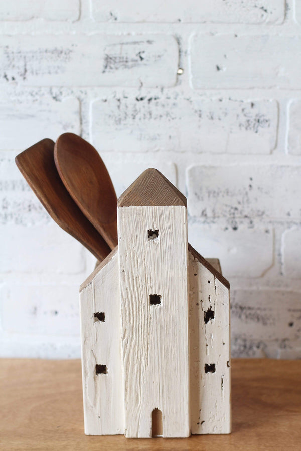 Wood House Utensil Holder Weathered Finish Chippy White PaintFarmhouse Country Casual Country Chic French Country Kitchen Decor Home Decor Rustic Kitchen Decor Primitive Country Style