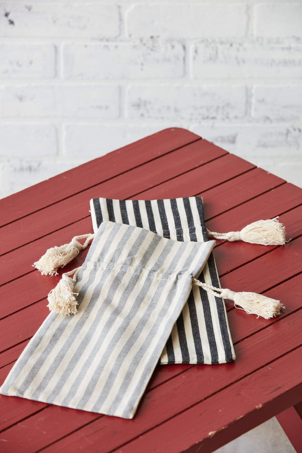 Wine Bottle Bags Striped White and Grey or White and Black Cute Farmhouse Minimalist Gift