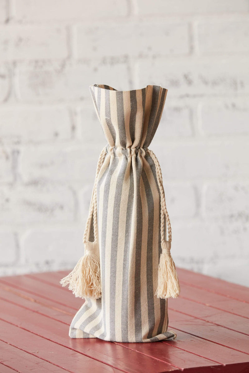 Striped Cotton Wine Bag