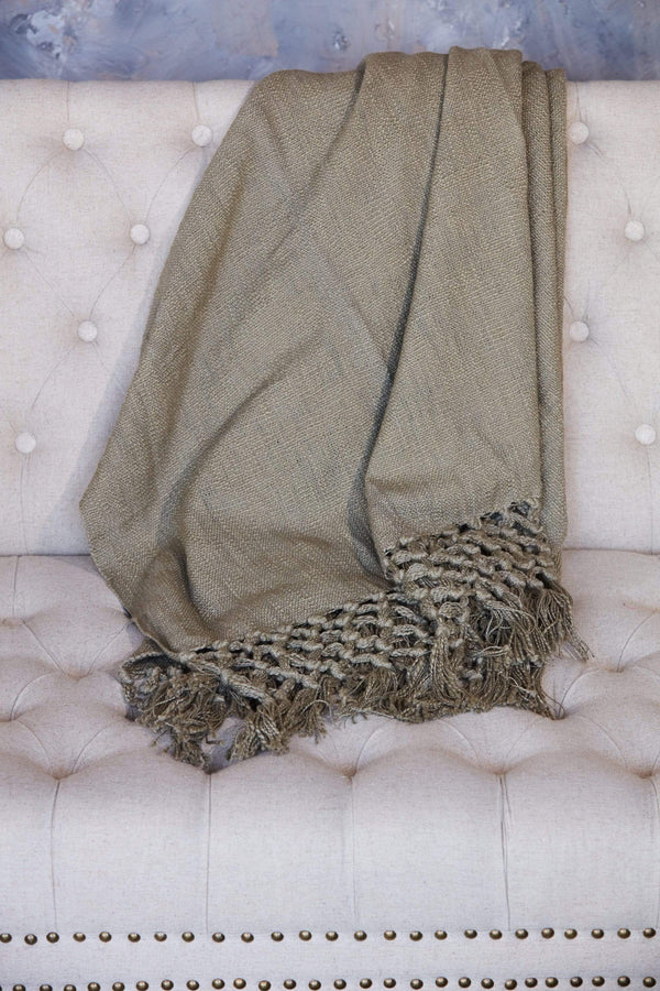 Crochet Edge Olive Throw