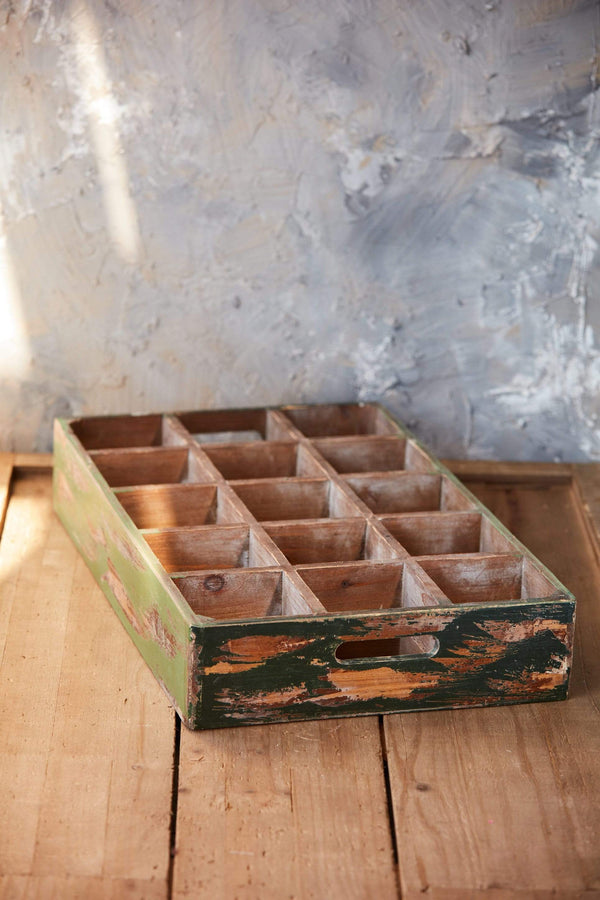 rustic green cubby tray 15 cubbyholes storage vintage look bottle tray