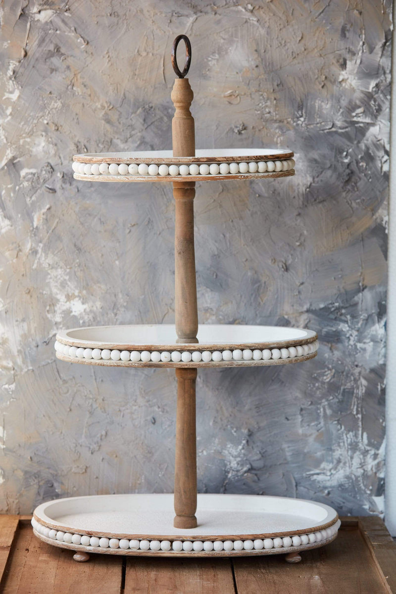 3-Tier Natural Wood + White Beaded Tray