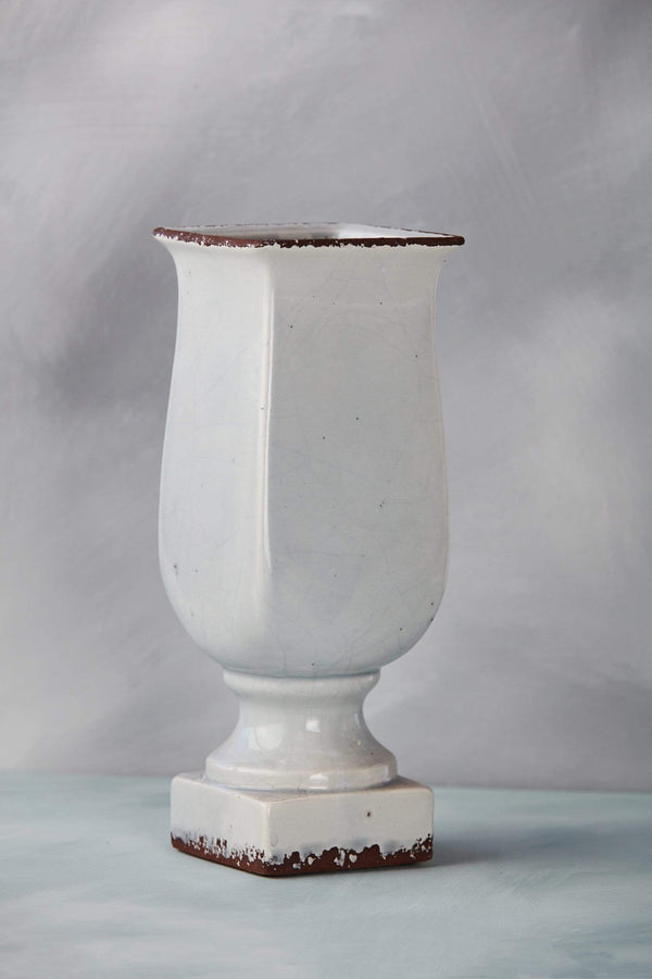 "11"" Pale Blue Crackled Ceramic Vase"