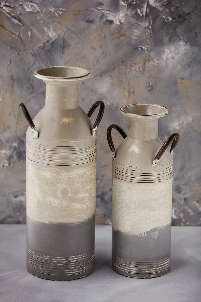 "18"" Shades of Gray Metal Vase"