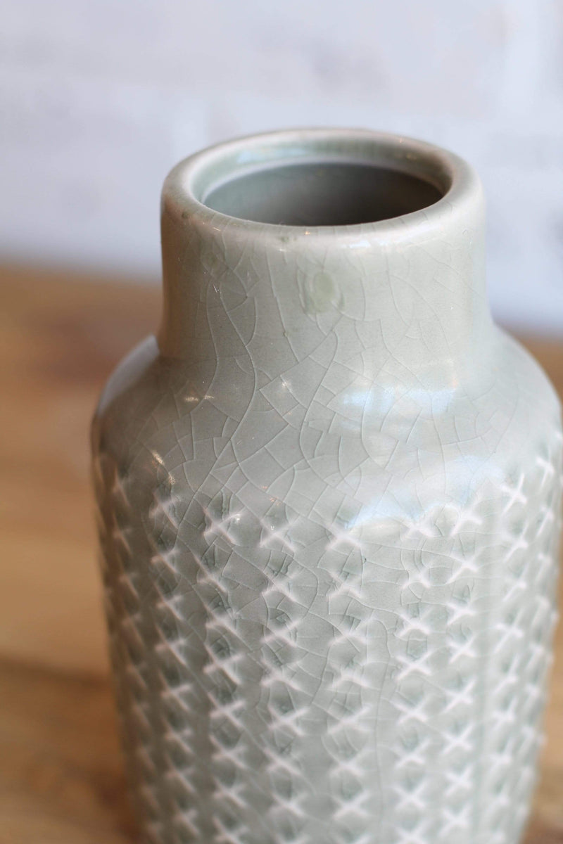 Sage Cris-Cross Embossed Ceramic Vase French country style french country farmhouse modern farmhouse style home decor vase planter farmhouse vase country vase boho chic style