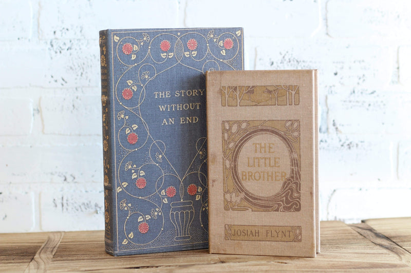 Vintage Inspired Decorative Book Set Storage Book Blue and Cream The Story Without End The Little Brother