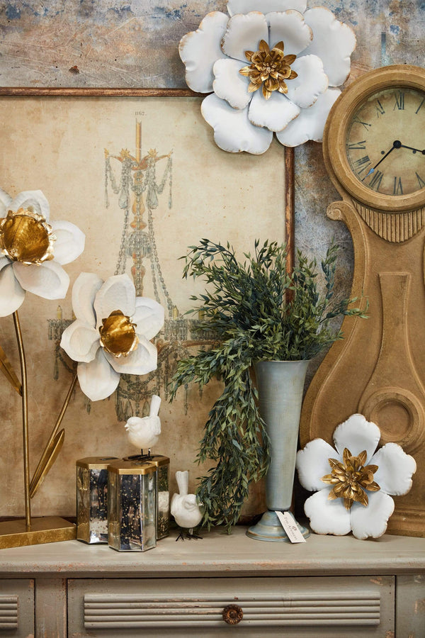 "9.5"" White & Gold Metal Wallflower"