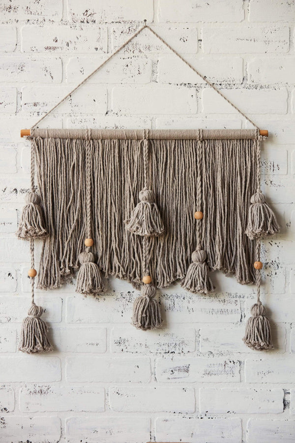 Gray Cotton Wall Hanging