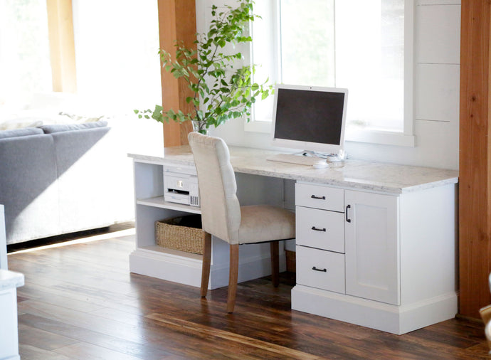 Custom Office Desk Bases with Quartz Top