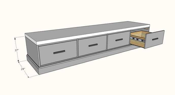 Frameless Drawer Bench