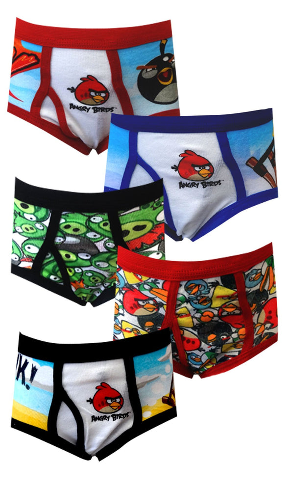 Angry Birds 5 Pack Size 4 Briefs