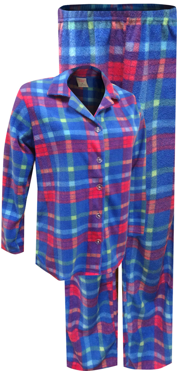 Blue and Pink Plaid Fleece Women's Classic Pajama Set