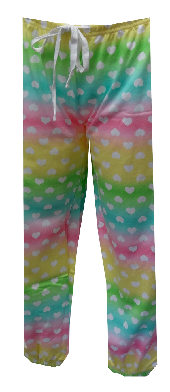 Pastel Rainbow and Hearts French Terry Capri Lounge Pants