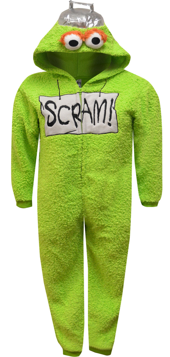Sesame Street Oscar the Grouch Hooded Union Suit Kids Pajamas