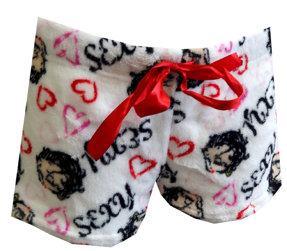 Betty Boop Winking White Plush Sleep Shorts