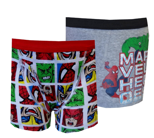 Marvel Comics Hulk and Spiderman 2 Pack Boys Boxer Briefs