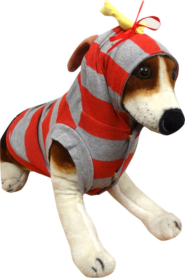 Gray and red striped dog costume with plush antler and bow on top