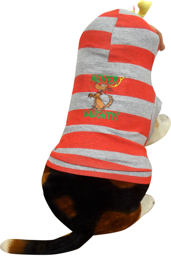 Back of red and gray striped dog outfit with Max and text Never Naughty