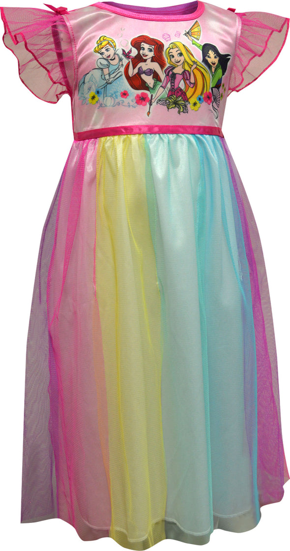 Disney Princesses Rainbow Overlay Toddler Nightgown