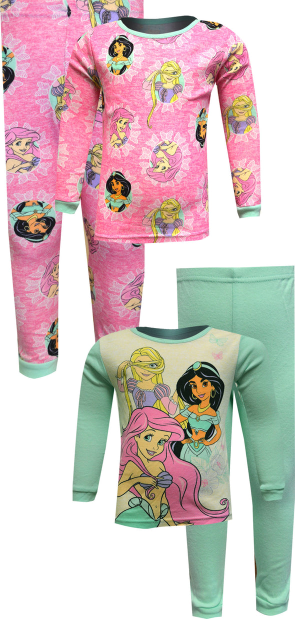 Disney Princess Jasmine Ariel Rapunzel 4 Pc Cotton Toddler Pajama
