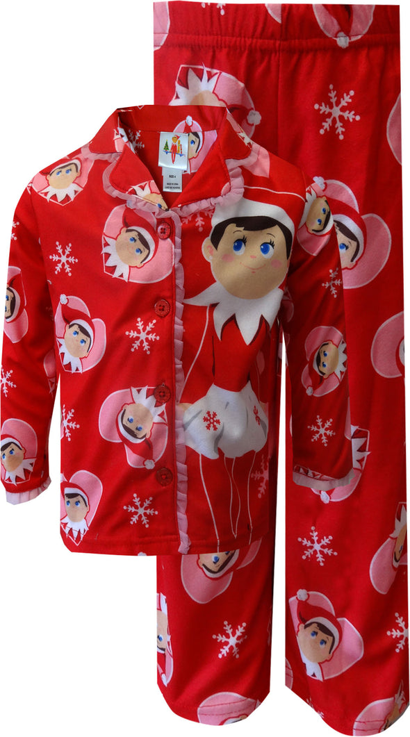Elf on the Shelf Snowflake Red Christmas Holiday Pajamas