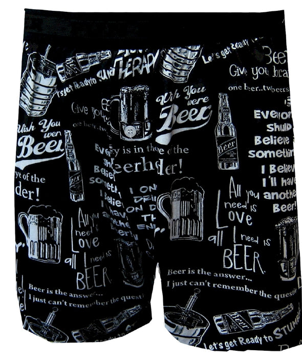Funny Beer Phrases Black Boxers