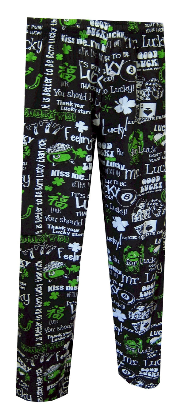 Lucky Phrases Black Lounge Pants Size Small