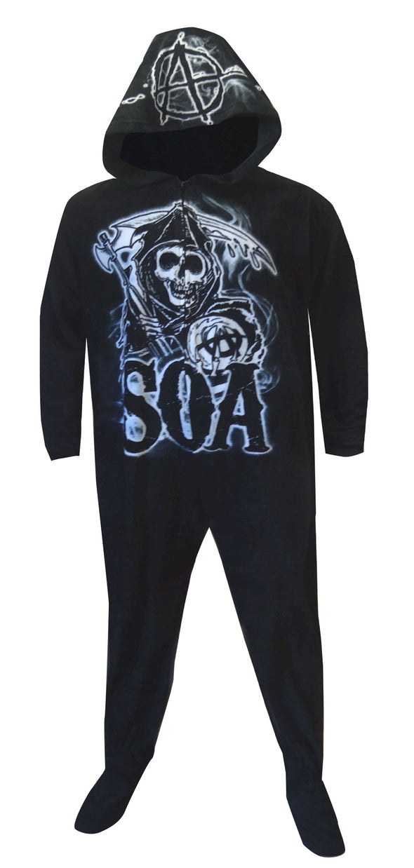 Sons of Anarchy Grim Reaper Onesie Hooded Footed Pajama