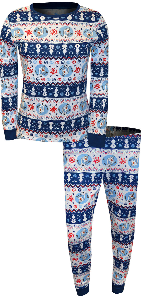 Frozen Olaf Fair Isle Cotton Thermal Style Pajama Set