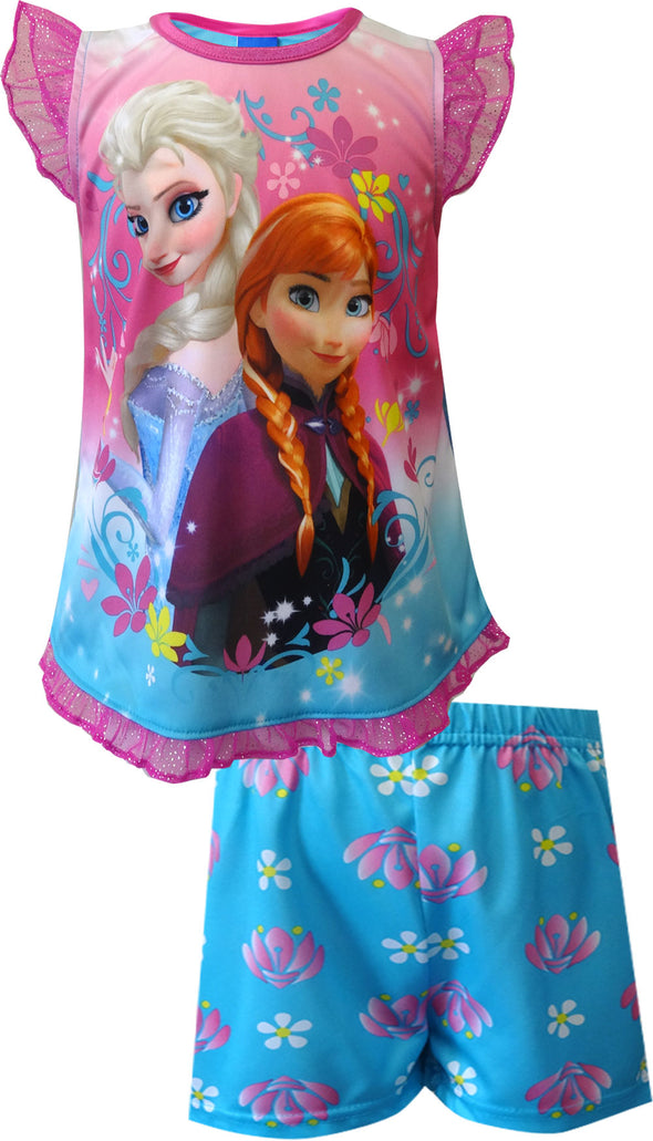Disney Frozen Princesses Elsa and Anna Toddler Shortie Pajama