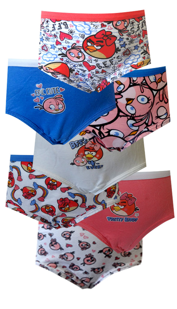 Angry Birds 7 Pack Size 6 Brief Style Panties