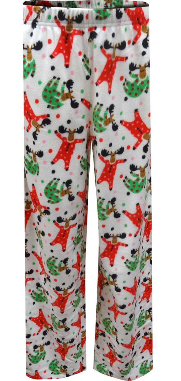 Merry Christmas Moose Fleece Holiday Lounge Pants