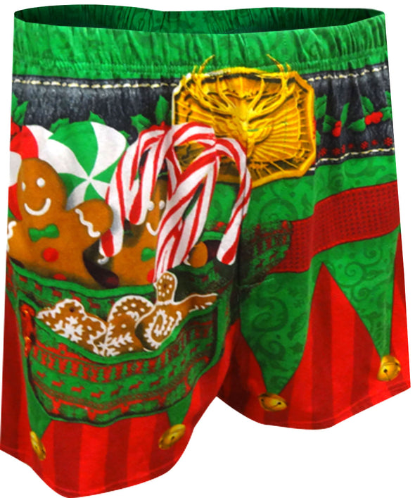 Santa's Christmas Elf  Boxer Shorts with Hat