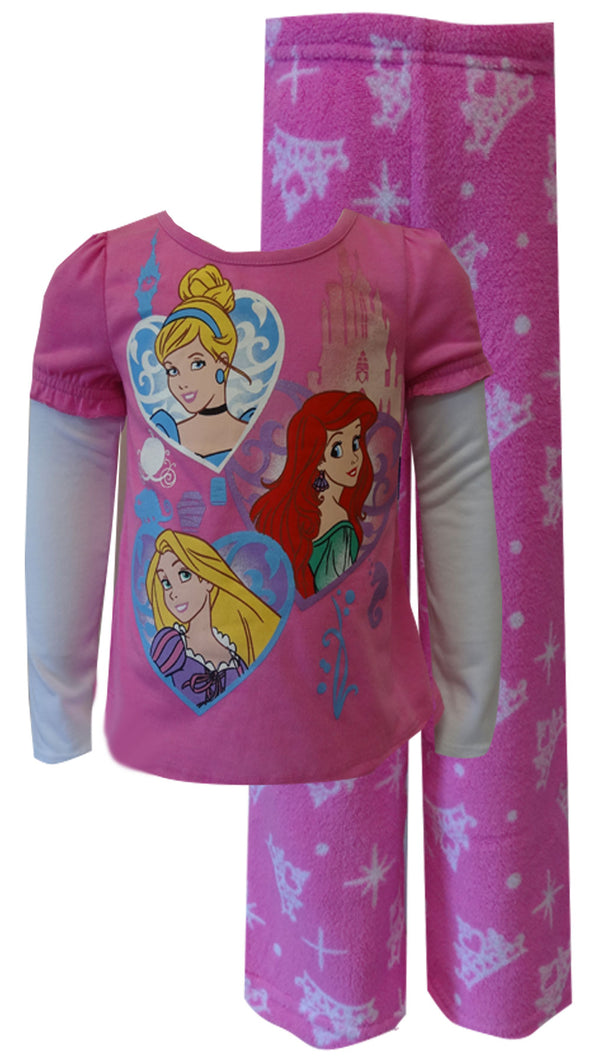 Disney Princess Ariel Rapunzel Cinderella Toddler Plush Pajama 2T