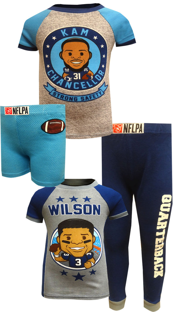 NFLPA Kam Chancellor and Russell Wilson 4 Piece Pajama Set