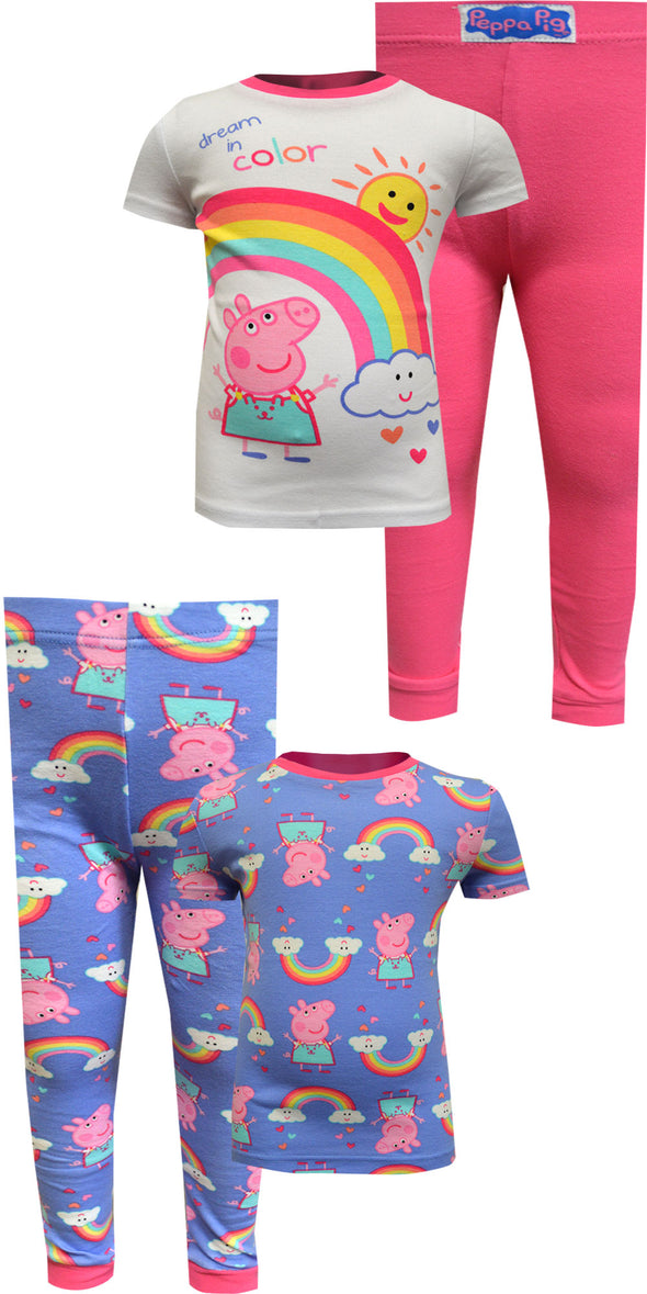 Peppa Pig Dream In Color 4 Piece Cotton Toddler Pajamas