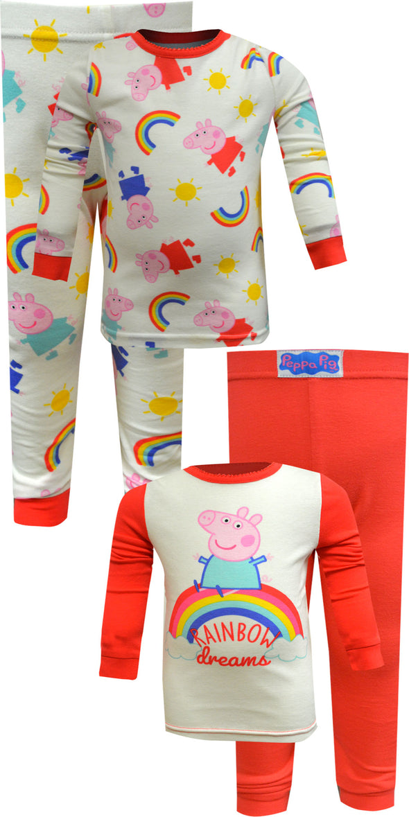 Peppa Pig Rainbow Dreams 4 Piece Cotton Toddler Pajamas