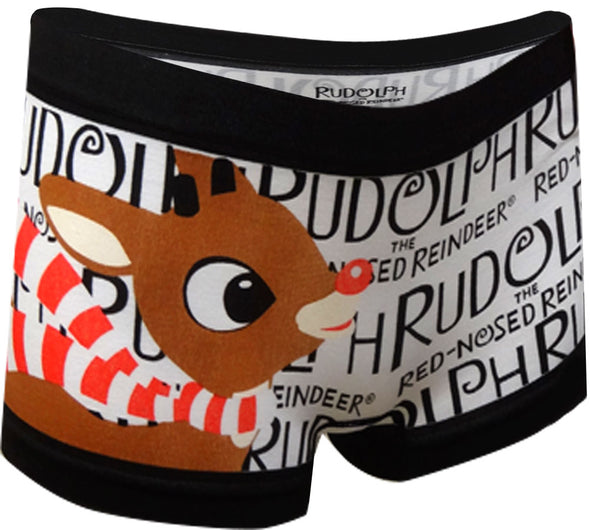 Rudolph the Red-Nosed Reindeer Black and White Boyshort Panty