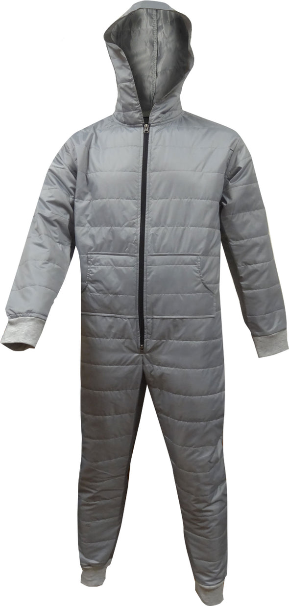 Insulated Super Warm Gray Hooded Onesie Pajama
