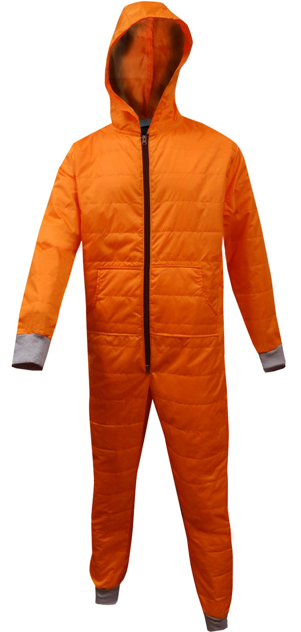 Insulated Super Warm Orange Hooded Onesie Pajama