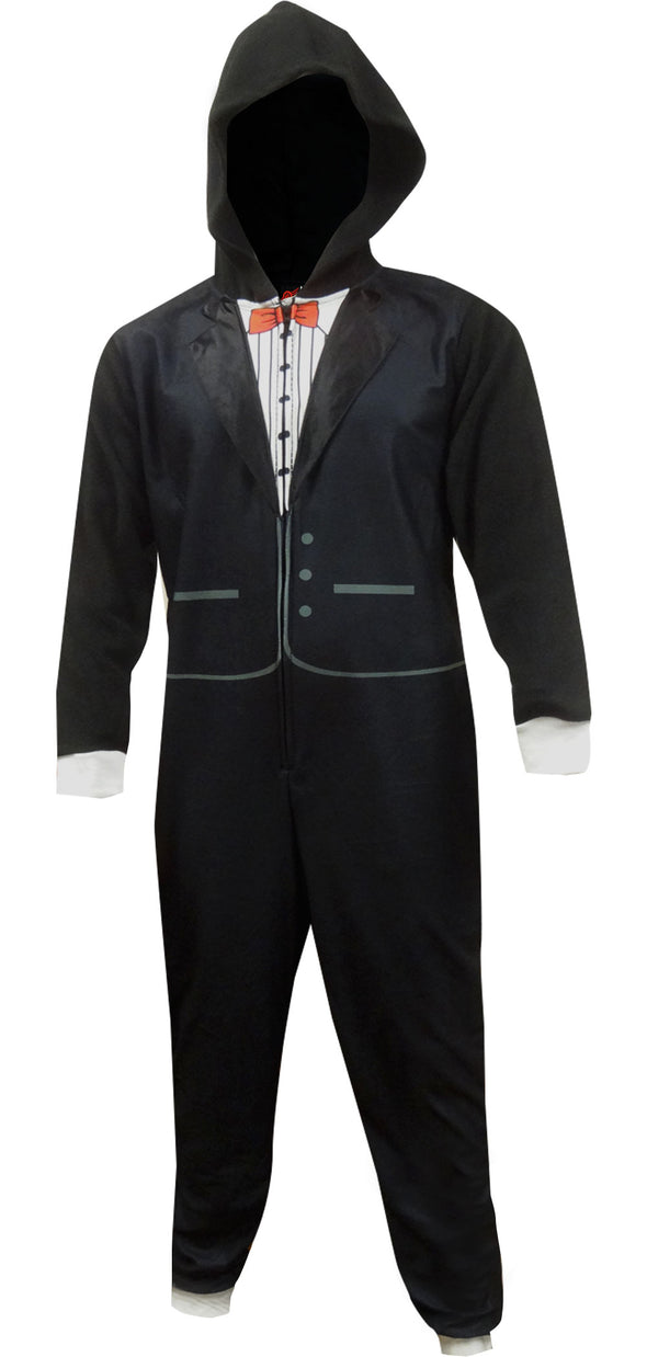 Black Tuxedo Union Suit One Piece Pajama