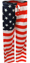 American flag lounge pant with left leg as red and white stripes, right let with blue and white stars and red stripes