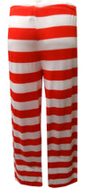 Rear of American flag lounge pant, which is all red and white stripes