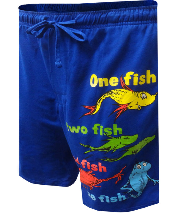 Dr Seuss One Fish Two Fish Blue Lounge Shorts