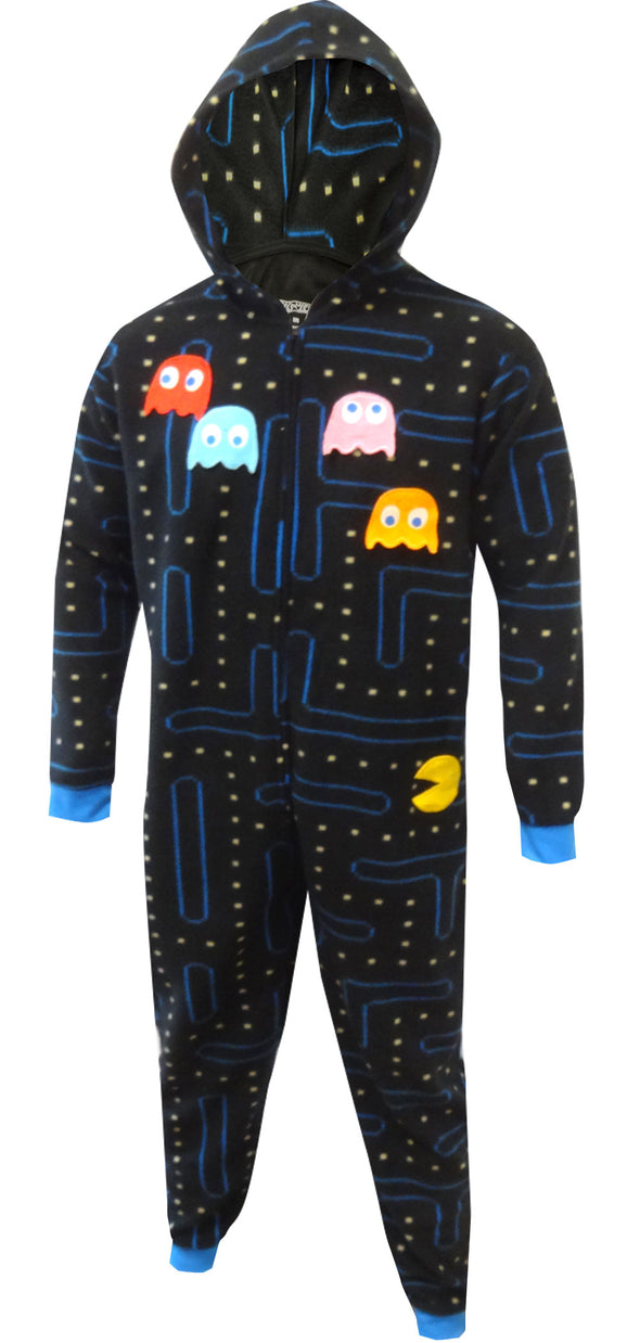 Pacman and Ghosts Hooded One Piece Pajama Size S/M