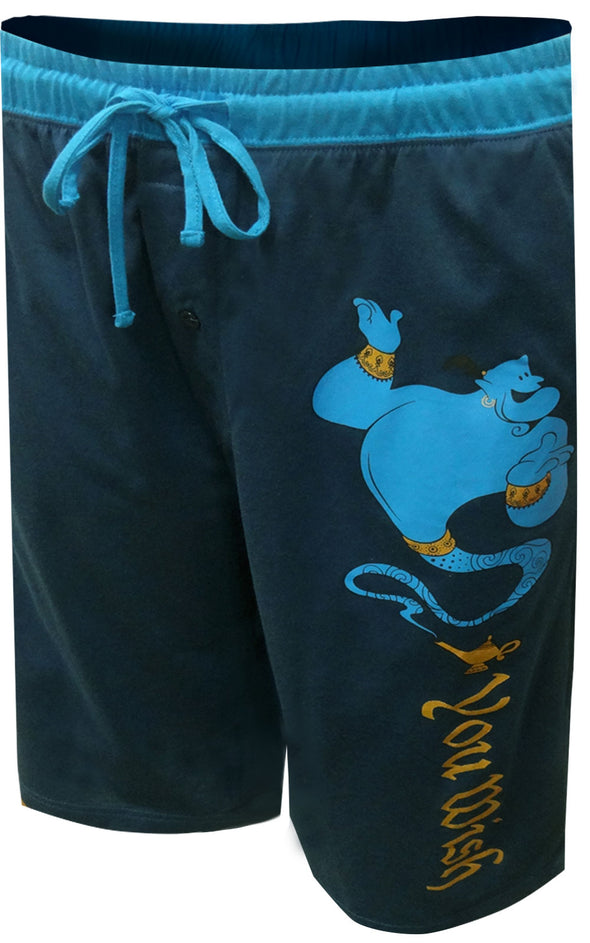 Blue long sleep short with light blue waist band, Aladdin Genie and You Wish text
