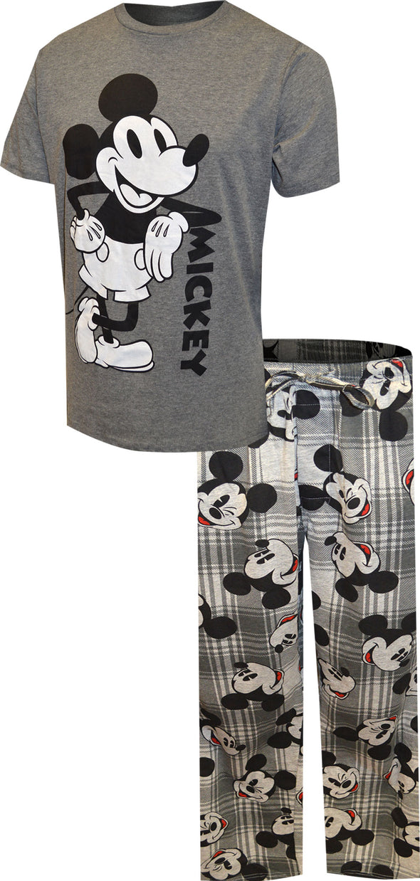 Disney's Mickey Mouse Tee and Lounge Pant Plaid Pajama Set