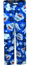 Royal blue plaid pants with Abominable Snowman and snowflake images
